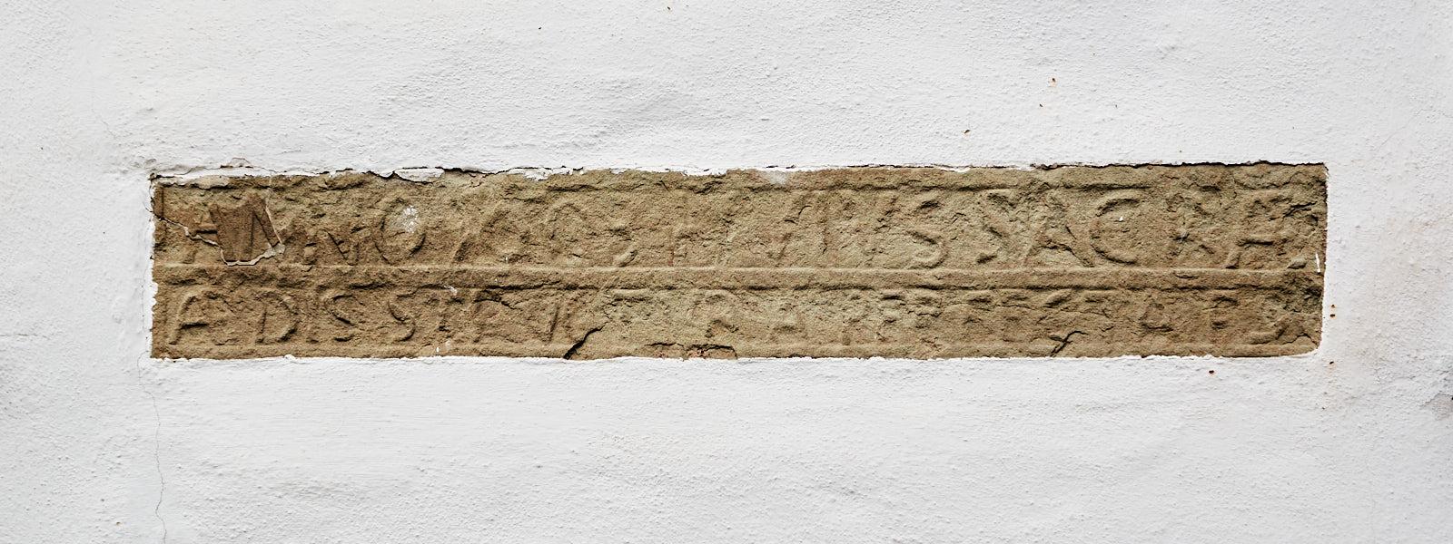 Inschrift zur Fertigstellung des Baus 1603